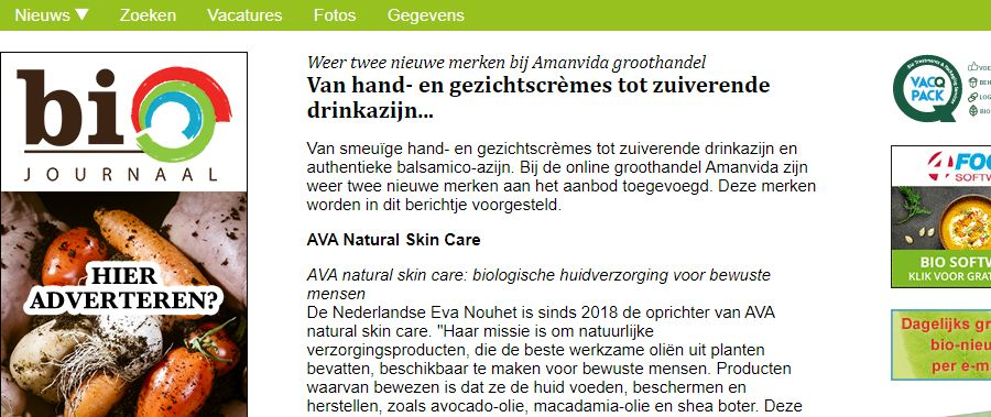 Artikel over AVA in Biojournaal